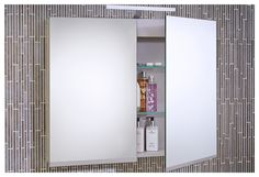 Mirror cabinet with interior shelves, overhead light and double sided mirror doors Contemporary Bathroom Furniture, Fitted Bathroom Furniture, Contemporary Bathroom Designs, Bathroom Design Small, Bathroom Mirror Cabinet, Mirror Cabinets, Mirror Door, Bathroom Makeovers, Bathroom Ideas
