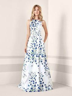 <img> Pronovias 2019 Evening Dresses Gowns White long Sleeveless Boat Neck with Pockets Floral Pattern - Quinceanera Dresses, Prom Dresses, Wedding Dresses, Junior Formal Dresses, Formal Gowns, Pronovias, Groom Dress, Ball Gowns, Evening Dresses