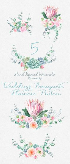 Wedding Watercolor Bouquets Protea Flowers Roses by ReachDreams