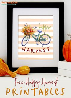 These free Happy Harvest printables are perfect for your fall decor. They're available in multiple sizes and formats. Halloween Prints, Fall Halloween, Free Printable Art, Free Printables, Printable Quotes, Diy Gifts On A Budget, Bicycle Print, Season Of The Witch, Subway Art