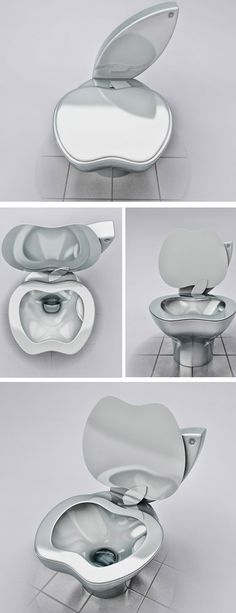 """If you are an iFan, then you'll love it. The iPoo #Toilet by Milos Paripovic is for the """"to-the-core"""" Apple fans, a #prestigious designer toilet which will provide you with the most technologically advanced bathroom experience you've ever had.    As the designer jokes – it's compatible with iPod, iPad 3, iPhone 5 and MacBook Air. The material is the same as those iProducts. The design reminds you of an Apple logo; it's cool, modern - and fake."""