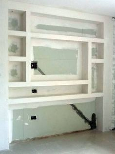 Drywall de nichos antes