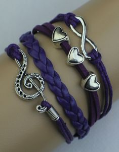 Infinity, Hearts, Music Note Wrap Bracelet – Purple  $15.00  Fashion Jewelry at Modest Prices - www.gomodestly.com