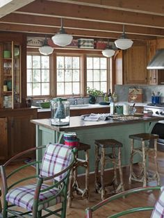There is so much going on in this cabin kitchen! Click photo to enlarge! cabin decor Expanding a Cozy Log Cabin Log Cabin Homes, Log Cabins, Rustic Cabins, Log Cabin Kitchens, Rustic Kitchens, Open Kitchens, Mountain Cabins, Kitchen Rustic, Rustic Cottage