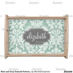Mint and Gray Damask Pattern Custom Name Serving Tray