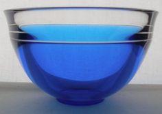 Incredibly GORGEOUS Blue INCALMO Signed ORREFORS Glass BOWL Modern LARS HELLSTEN #Orrefors #Incalmo