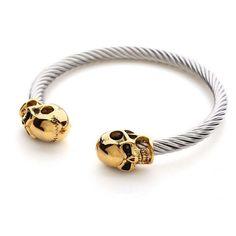 Twin Skull Steel Cuff