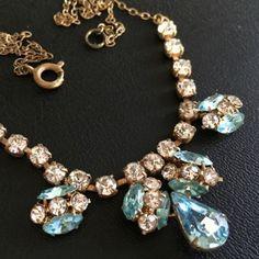 Art Deco Czech Glass Rhinestone Pendant Necklace