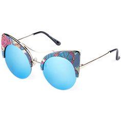 zeroUV - Womens Fashion Round Metal Cut-Out Flash Mirror Lens Cat Eye Sunglasses (Silver / Silver Mirror)