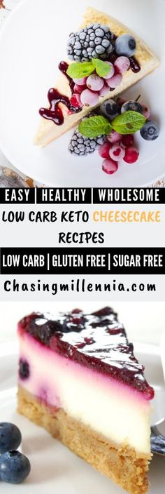 Check out these low carb cheesecake recipes that are keto and diabetic friendly. Most recipes are sugar free, no bake, easy, super healthy & for weight loss Sugar Free Cheesecake, Low Carb Cheesecake Recipe, Chocolate Cheesecake Recipes, Chocolate Desserts, Strawberry Cheesecake, Simple Cheesecake, Ricotta Cheesecake, Ketogenic Desserts, Keto Friendly Desserts
