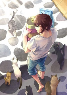 Greece and his cats. Hetalia :D. Greece and one of my friends are pretty much the same except she's way younger and girl