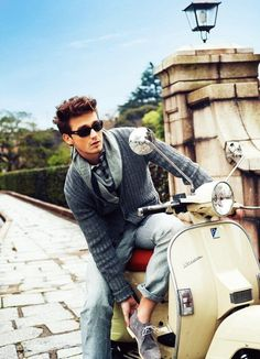 My European manpanion, picking me up from my villa on his Vespa. We're going puppy shopping today.