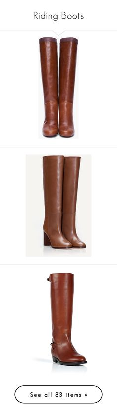"""""""Riding Boots"""" by a-la-francaise ❤ liked on Polyvore featuring shoes, boots, brown, scarpe, lanvin boots, brown knee high boots, leather sole boots, knee high leather boots, brown leather boots and leather high heel boots"""