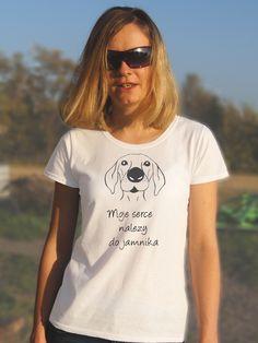 T-shirt ręcznie malowany z psem rasy jamnik z napisem jaki tylko chcesz. https://pl.dawanda.com/shop/kejter
