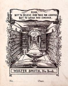 Bookplate of Walter Smith. Ca. 1909