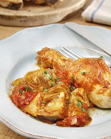 "This delicious recipe for chicken with artichokes is from the cookbook ""Lidia's Italy"" by Lidia Bastianich."