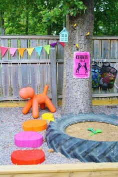 sweet outdoor space for kids Carolyn, our sandbox was made from a tractor tire when we were little. It was fun! Outdoor Play Areas, Outdoor Fun, Outdoor Spaces, Outdoor Ideas, Kids Outdoor Toys, Backyard Ideas, Outdoor Living, Backyard Toys, Play Spaces