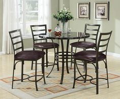 """5 pc Val II collection round black faux marble top counter height dining table set with dark metal finish frame, This set features a faux marble top with an dark metal finish frame and faux leather upholstered chairs. Table measures 40"""" Dia. x 36"""" H, Side chairs measure 24"""" H at the seat. Some assembly required."""