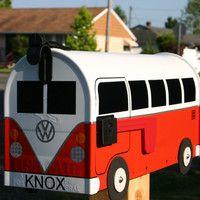 Fire Orange Volkswagen Bus Mailbox by TheBusBox Custom made VW - Choose your color - SplitBusBox