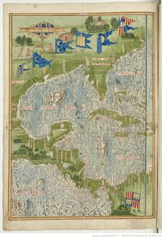 Universal Cosmography from Guillaume Le Testu - 1555 - The West Indies Sea Source : Bnf