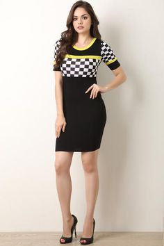 This bodycon dress features a jersey knit fabric, checker panels, contrasting accent trim, round neckline, and short sleeves. Accessory sold separately. Made in U.S.A. 87% Polyester, 10% Rayon.Measurement Size Bust Waist Hip Length Sleeve S 28 24 29 33 10 Most Beautiful Indian Actress, Dresses For Work, Formal Dresses, Mode Style, Beautiful Models, Indian Actresses, Fashion Boutique, Fashion Models, Short Sleeves
