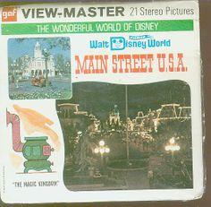 DisneyWorld Viewmaster set of Main Street USA, Wonderful World of Disney Series Florida No top flap on packet See also Disneyland -- Disney World View Master, 3d Photo, Magic Kingdom, Indie Brands, Main Street, Vintage Toys, Wonders Of The World, Growing Up, Maine
