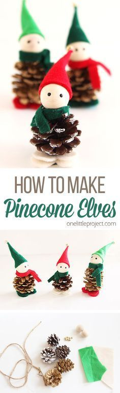 These pinecone elves are ADORABLE! They're really easy to put together and they make super cute ornaments. You can even tie them onto a garland! Such a fun Christmas craft!