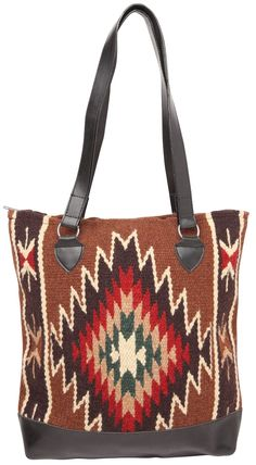 Beautiful and Unique Hand-Wooven Wool Tote Bag with Classic Mayan Style Patterns. Comfortable, Sturdy Shoulder Straps with 12 inch drop. Ideal for diapers, kids items, and all around daily use.