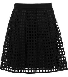 Kaneo Black Laser Cut Skirt - REISS