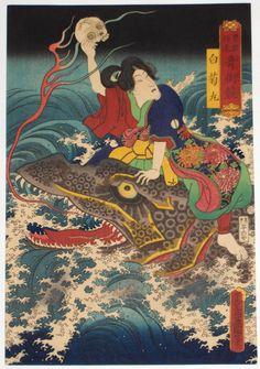 Tattoo Ideas & Inspiration - Japanese Art | Utagawa Kinisada - Shiragikumaru riding on the back of a sea creature/monster. #Japanese #Warrior