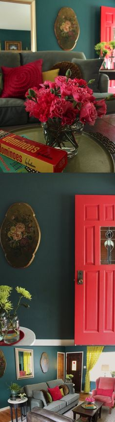 "WALL: BM Pine Green in Aura (richer) DOOR: SW Real Red, semi-gloss. (good to: BM Jade Garden a deep watery teal) For energy added chartreuse & dynamic red. ""think beyond ""dark"" ""light"" paint, & more about mood. Room is ""light"" if gets lots of light. If not, it's never going to be light. I prefer to bring in boldness & brightness with deeper wall color to keep it from getting too serious. Best advice - try to define what mood you want when selecting colors & use hues that support that mood."