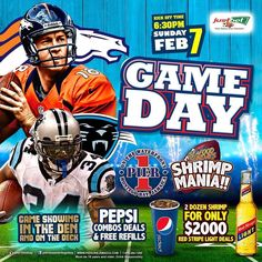 LET'S GET READY TO RUMBLE!!!!! Where the game people at??? Game kicks it off at 6:30 Sharpe! !! On Feb 7!!! On this great day we have #redstripebeer specials #Pepsicombodeal with FREE refills!!! And don't think we will ever leave out our #shrimp lovers!! #Seafoodspecial is on!! Come have an awesome night with PIER1!!!! by pier1mobay