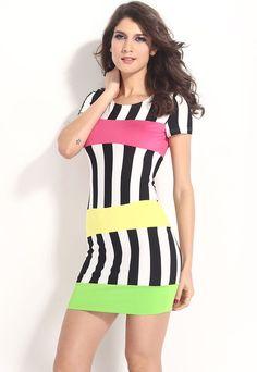 Robes Moulantes Vente Chaude Bandage Accent Stripe Midi Robe Pas Cher www.modebuy.com @Modebuy #Modebuy #CommeMontre #me #basprix #pleasefollow