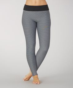 Look at this Heather Black Brushed Stripe Leggings on #zulily today!