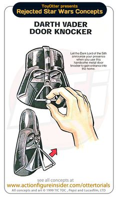 Rejected Star Wars Concepts, Darth Vader Door Knocker. I want it to Play the Imperial March also...