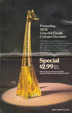 In Avon 1978 Catalogue - 'Graceful Giraffe cologne decanter'.