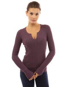 PattyBoutik Women's Notch Neck Cable Sweater (Plum L)
