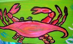 Florida Folk Artist RhondaK Funny CRAB Sign Beach DECOR by RhondaK