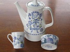 Norwegian vintage handpainted tea set on Trade Me auction. I love those designs. Geometrical and whimsy. Clean crisp palette. Funny man with mostache on sugar bowl.