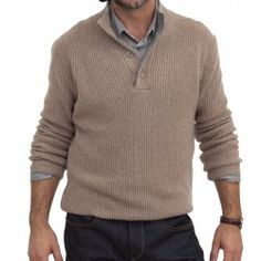 100% CASHMERE BUTTON MOCK NECK RIBBED SWEATER