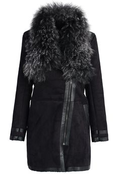 Faux Shearling Wool Collar Matted Coat in Black//