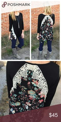 COMING SOON NWT BLACK FLORAL AND LACE TUNIC Black Floral and lace accent tunic.  95% rayon 5% spandex.  ALSO AVAILABLE IN BURGUNDY Infinity Raine Tops Tunics