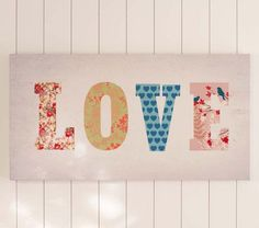 Patchwork Love Canvas Art | Pottery Barn Kids - Sorry PBK! I just might have to DIY this! Would love to tweak it somehow for our master bedroom.