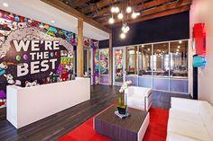 A Look Inside Chaotic Moon Studios' Austin Office Corporate Interiors, Office Interiors, Interior Office, Microsoft Office, Chaotic Moon, Office Graphics, Office Mural, Office Lobby, Design Studio Office