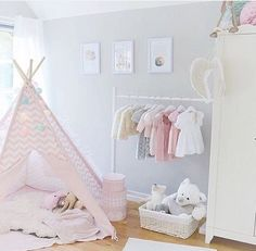 Light pink and white girls room idea - Love the decor on the outside of the teepee!