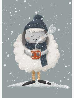 """Christmas Sheep"" Greeting Card by Vinteri Illustration Inspiration, Illustration Noel, Winter Illustration, Christmas Illustration, Christmas Drawing, Christmas Art, Christmas Decorations, Buho Logo, Winter Karten"