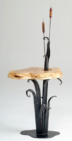Accent Table / End Table: Forge Cattails with Organic Slab. Hand forged by Woodland Creek's blacksmith / http://www.woodlandcreekfurniture.com