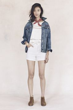 your sneak peek at madewell's spring 2016 collection: white denim shorts, white top, jean jacket, red bandana + tan suede booties. pre-order your favorites now by calling 866-544-1937 (434-385-5792 for our international friends) or email shopfirst@madewell.com to get first dibs  #everydaymadewell