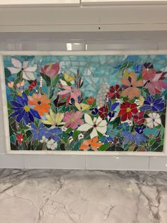 Floral Mosaic Kitchen Backsplash | Designer Glass Mosaics | Designer Glass Mosaics
