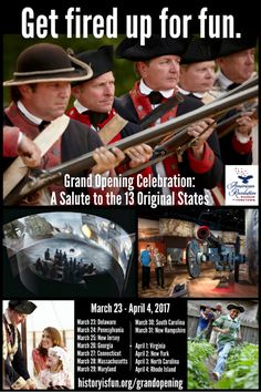 Bring your family to the American Revolution Museum at Yorktown for 13 days of festivities and fun during its Grand Opening: March 23 – April 4, 2017. Each day of the celebration recognizes one of America's 13 original states with an Honor Guard procession, flag-raising ceremony, artillery salute, military music and children's activities. Discover our new gallery exhibits and explore an expanded Continental Army encampment and Revolution-era farm. Buy tickets today.